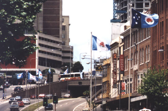 Flag display in William Street