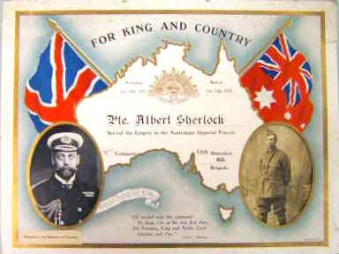 certificate to Private Albert Sherlock