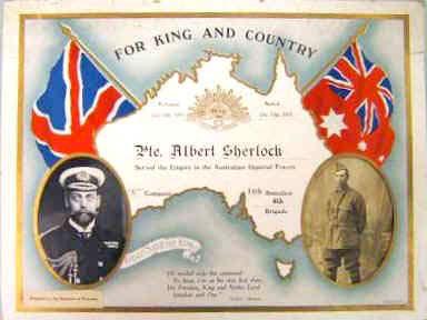certificate to Private Albert Sherlock