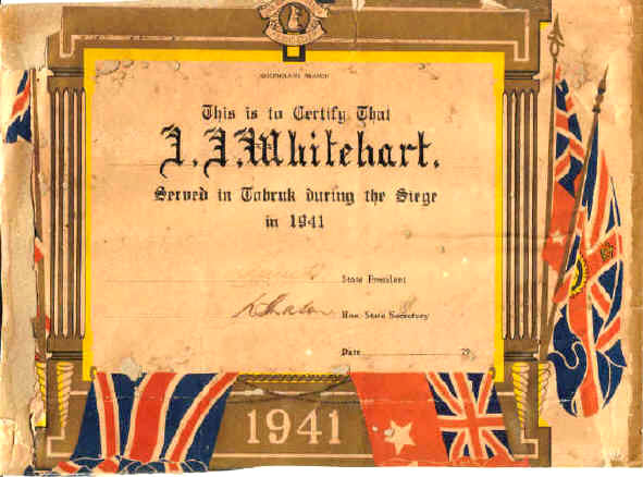 Certificate to Whitehart